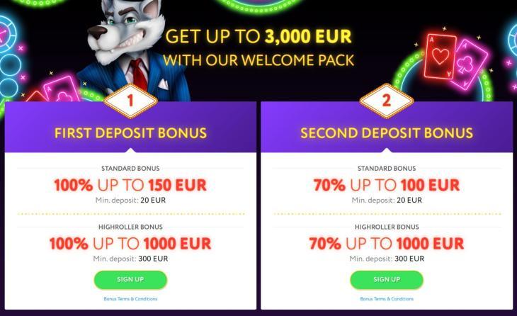 SlotWolf velkomsttilbud og bonus