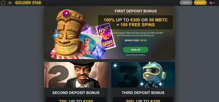 GoldenStar Casino velkomsttilbud og bonus